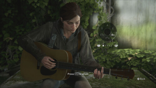 Minigame Guitar screenshot of The Last of Us Part II video game interface.