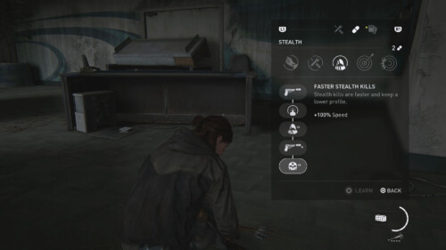 Skill Upgrades screenshot of The Last of Us Part II video game interface.