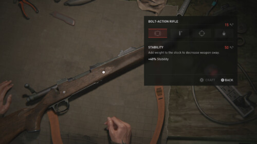 Weapon Upgrade Workbench screenshot of The Last of Us Part II video game interface.