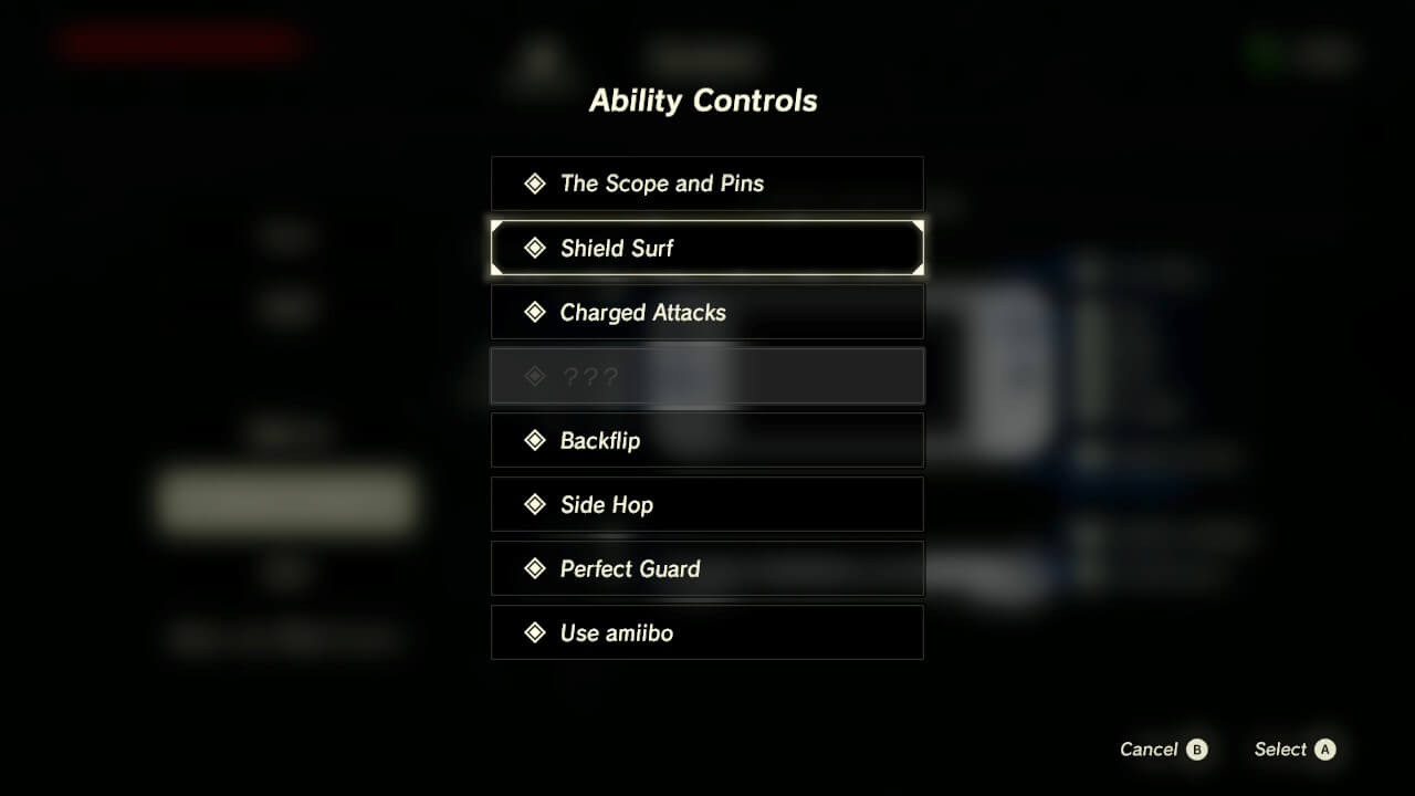 Ability controls screenshot of The Legend of Zelda: Breath of the Wild video game interface.