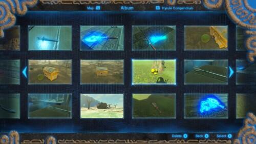 Album screenshot of The Legend of Zelda: Breath of the Wild video game interface.