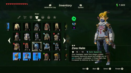 Armor screenshot of The Legend of Zelda: Breath of the Wild video game interface.