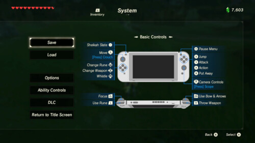 Basic controls screenshot of The Legend of Zelda: Breath of the Wild video game interface.