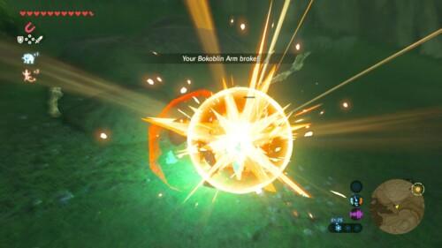 Bokablin arm broke screenshot of The Legend of Zelda: Breath of the Wild video game interface.