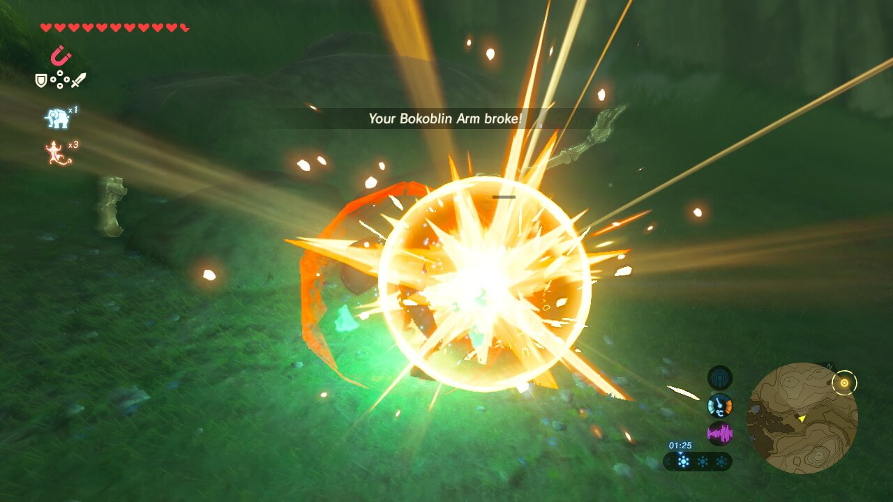 Bokablin arm broke screenshot of The Legend of Zelda: Breath of the Wild video game interface.