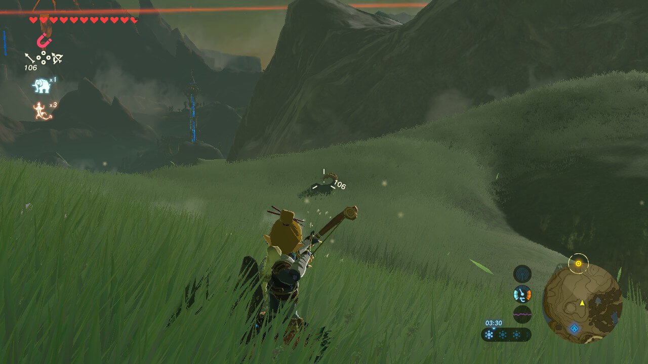 Bow zoom screenshot of The Legend of Zelda: Breath of the Wild video game interface.