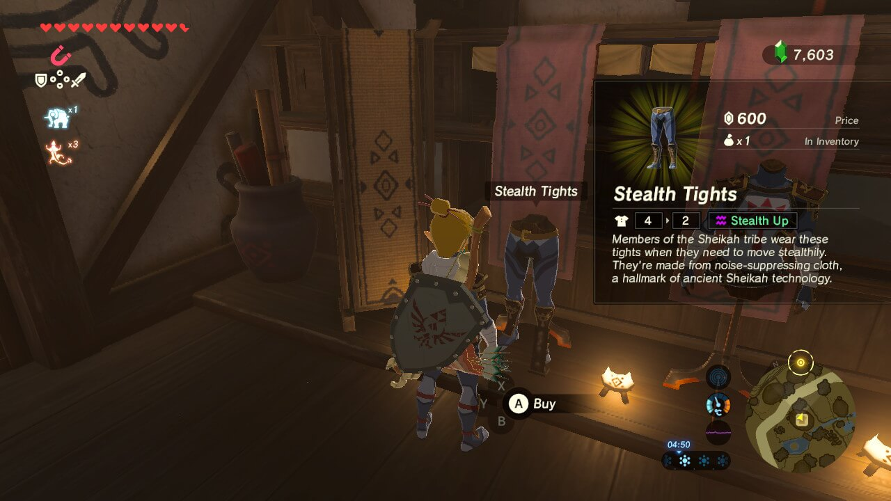 Buy item screenshot of The Legend of Zelda: Breath of the Wild video game interface.