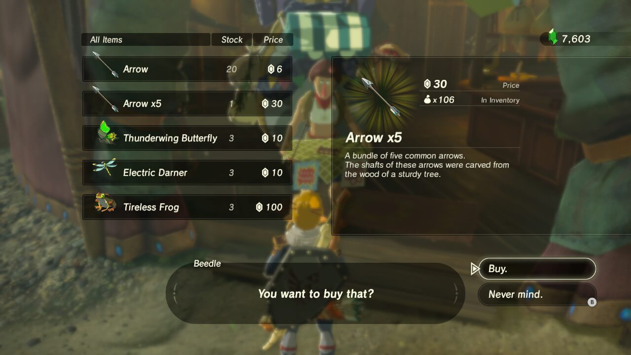 Buy items screenshot of The Legend of Zelda: Breath of the Wild video game interface.