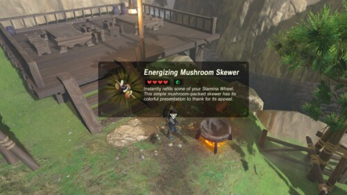 Cooking food screenshot of The Legend of Zelda: Breath of the Wild video game interface.