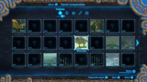 Creatures collection screenshot of The Legend of Zelda: Breath of the Wild video game interface.