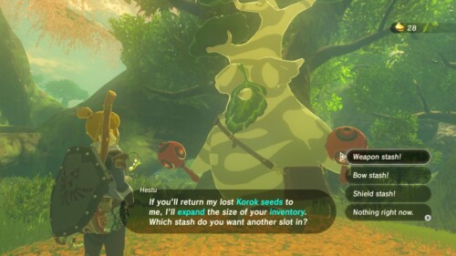 Dialogue screenshot of The Legend of Zelda: Breath of the Wild video game interface.