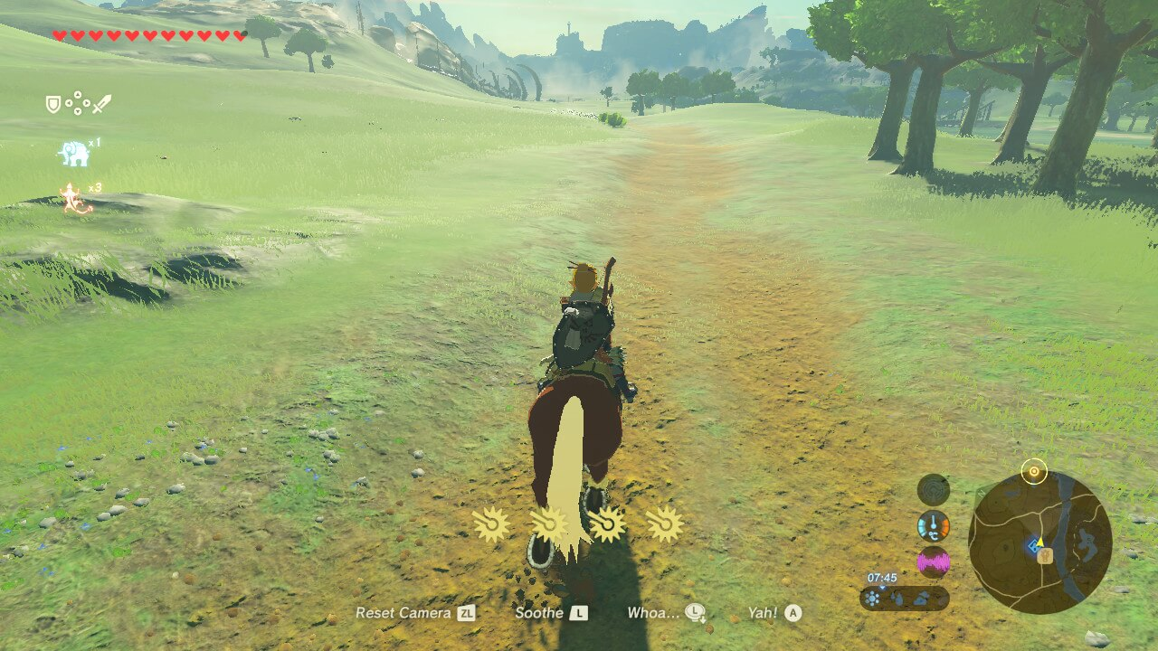 Horse riding screenshot of The Legend of Zelda: Breath of the Wild video game interface.