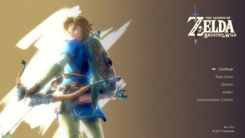 Main menu screenshot of The Legend of Zelda: Breath of the Wild video game interface.