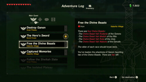 Main quest screenshot of The Legend of Zelda: Breath of the Wild video game interface.