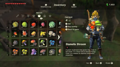 Materials screenshot of The Legend of Zelda: Breath of the Wild video game interface.