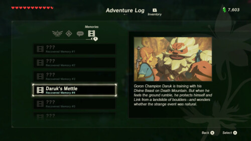 Memories screenshot of The Legend of Zelda: Breath of the Wild video game interface.