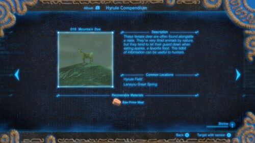Mountain doe screenshot of The Legend of Zelda: Breath of the Wild video game interface.