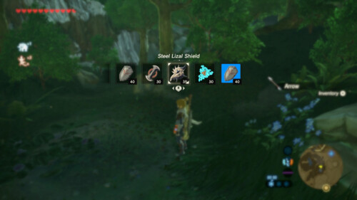 Select shield screenshot of The Legend of Zelda: Breath of the Wild video game interface.