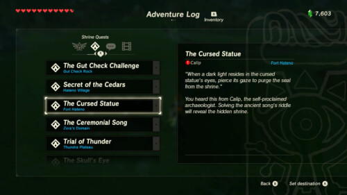 Shrine quests screenshot of The Legend of Zelda: Breath of the Wild video game interface.