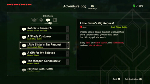 Side quests screenshot of The Legend of Zelda: Breath of the Wild video game interface.