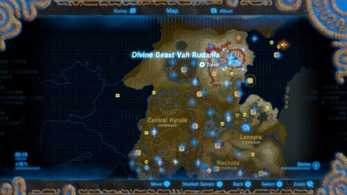 World map screenshot of The Legend of Zelda: Breath of the Wild video game interface.