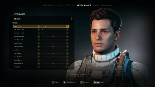 Appearance screenshot of The Outer Worlds video game interface.