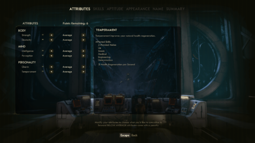 Attributes screenshot of The Outer Worlds video game interface.