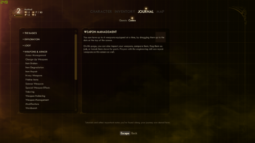 Codex screenshot of The Outer Worlds video game interface.