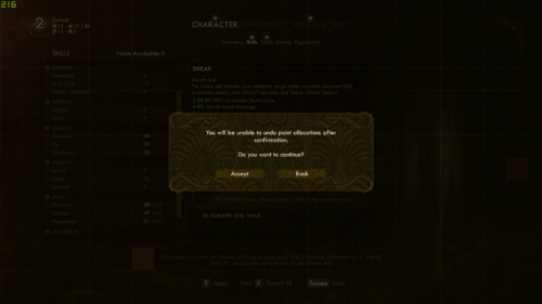 Confirmation screenshot of The Outer Worlds video game interface.