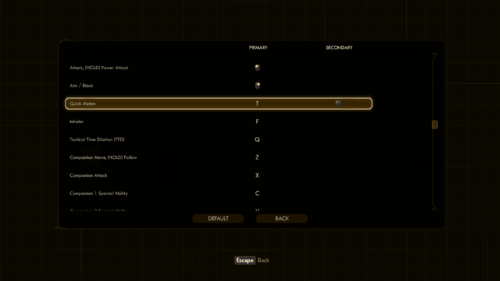 Controls screenshot of The Outer Worlds video game interface.