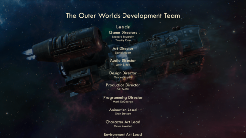 Credits screenshot of The Outer Worlds video game interface.