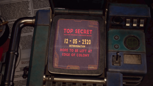 Cut Scene screenshot of The Outer Worlds video game interface.