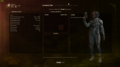 Details screenshot of The Outer Worlds video game interface.