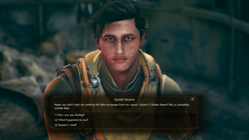 Dialogue screenshot of The Outer Worlds video game interface.