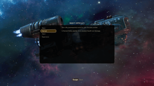 Difficulty screenshot of The Outer Worlds video game interface.