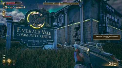 HUD screenshot of The Outer Worlds video game interface.