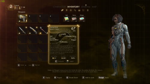 Inventory screenshot of The Outer Worlds video game interface.