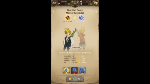 Change hero screenshot of The Seven Deadly Sins: Grand Cross video game interface.