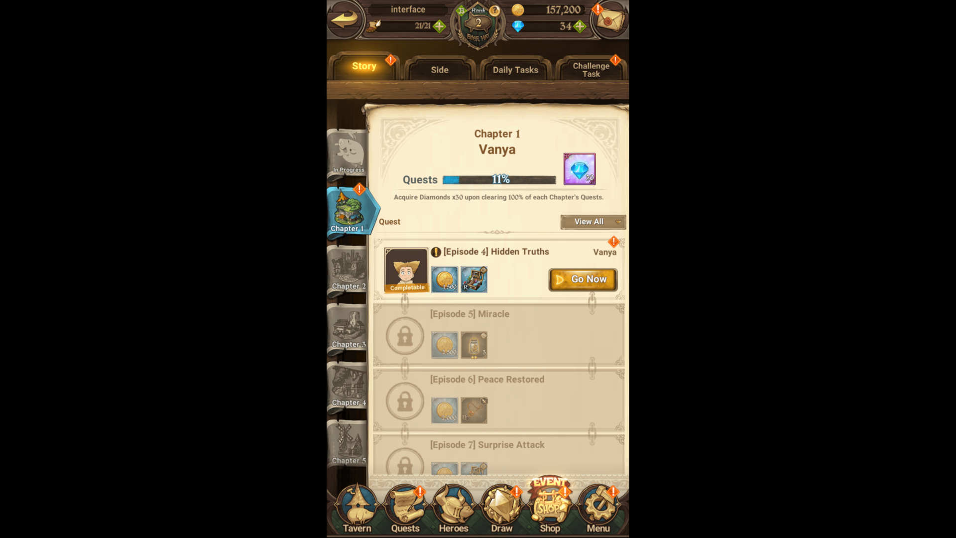 Chapter quests screenshot of The Seven Deadly Sins: Grand Cross video game interface.