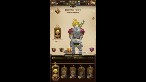 Comestic screenshot of The Seven Deadly Sins: Grand Cross video game interface.