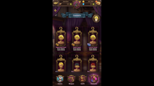 Cosmetic screenshot of The Seven Deadly Sins: Grand Cross video game interface.