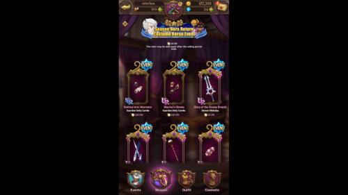 Costume Rerun Event screenshot of The Seven Deadly Sins: Grand Cross video game interface.