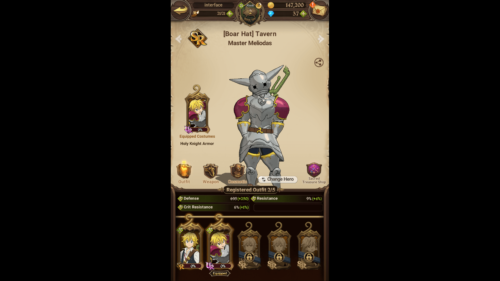 Costumes screenshot of The Seven Deadly Sins: Grand Cross video game interface.