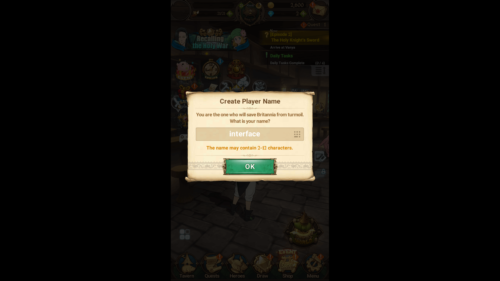 Create Player Name screenshot of The Seven Deadly Sins: Grand Cross video game interface.