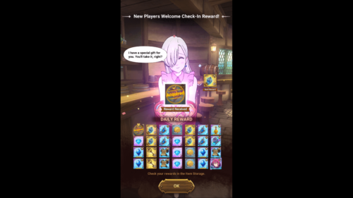 Daily reward screenshot of The Seven Deadly Sins: Grand Cross video game interface.
