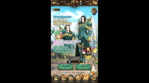 Draw screenshot of The Seven Deadly Sins: Grand Cross video game interface.