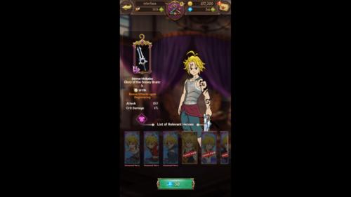 Hero screenshot of The Seven Deadly Sins: Grand Cross video game interface.