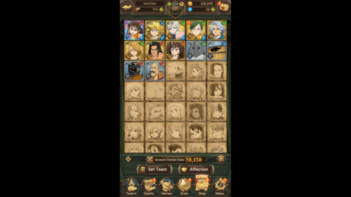 Heroes screenshot of The Seven Deadly Sins: Grand Cross video game interface.