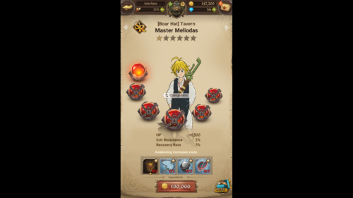 Increases stats screenshot of The Seven Deadly Sins: Grand Cross video game interface.