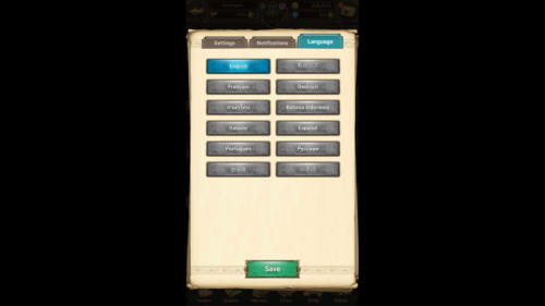 Language screenshot of The Seven Deadly Sins: Grand Cross video game interface.